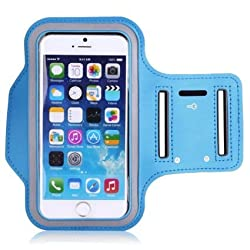 SEC Gym Sports Armband-Wrist Band-Mono Trendy and Functional Sports Armband for Large Screen Size (4.5 to 5.5 Inch) Smart Phone(light blue)