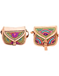 Aryan Exports Girls' Sling Bag (Multi-Colour, Set Of 2, Abc_847)