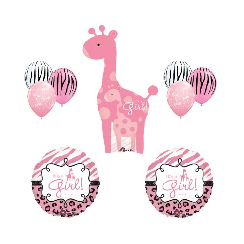 Safari It'S A Girl Giraffe Pink Zebra Balloon Baby Shower Party Supply Gift Set front-926218
