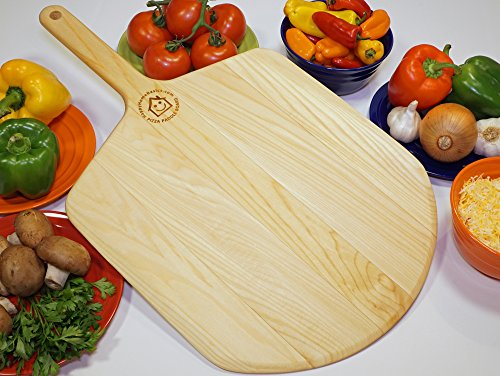 Pizza Lover Peel -Large 14 X 24 Inch, Hardwood Cutting Board Paddle With 212 Gourmet Pizza Recipes