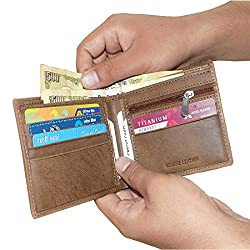 Tan Unisex Leather Wallets with 6 Credit Card Holder