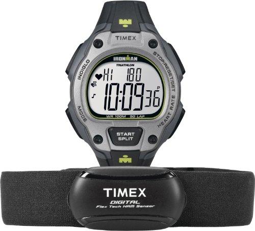 Timex Men's T5K719 Ironman Road Trainer Digital HRM Flex Tech Chest Strap & Full-Size Black/Gray/Lime Green Watch