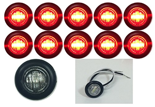 """10 New 3/4"""" Clear/Red Led Clearance Marker Bullet Marker Lights Good For Trailer Truck Etc With Black Trim Ring"""