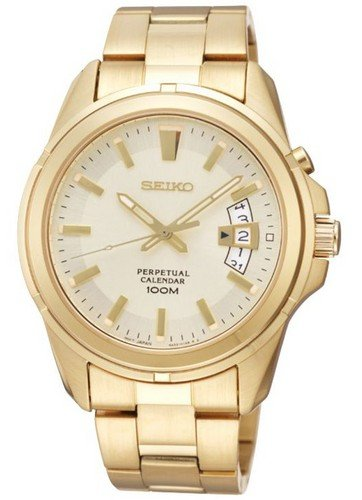 [Seiko] SEIKO watch Seiko SEIKO overseas models imports chronograph 100 M waterproof perpetual calendar diving diver quartz analog watches watches gold