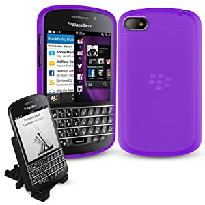 BlackBerry Q10 Zubehörpack (Accessory Pack) - LILA Bendy Gel Case Cover (Fall Abdeckungs Hülle) & G-HUB Desk-Lounger... von G-HUB