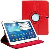 Cover per Samsung Galaxy Tab 3 10.1 (P5200 P5210)- Rosso Cover in Ecopelle con Meccanismo di Rotazione di 360° per Posizionamento Verticale ed Orizzontale del Tablet. Pellicola di Protezione per Schermo e Pennina per Touch Screen Incluse Gratuitamente da Stuff4® ***NON ADATTA PER GALAXY TAB 2 10.1 O GALAXY NOTE***