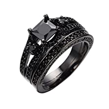 buy Bamos Jewelry Noble Womens Black Sapphire Cubic Black Gold Wedding Double Rings Size 6