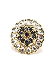 Aria Diwali Collection Green Bridal Gold Plated Kundan Adjustable Finger Ring For Women Fr149