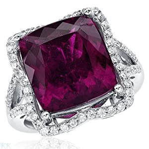 Cocktail Ring With 9.30ctw Precious Stones - Genuine Clean Diamonds and Rubellite Beautifully Designed in 18K White Gold. Total item weight 8.6g (Size 7)