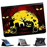 Halloween Pumpkin Bats Scarecrow For Apple iPad AIR 2013 Version Faux Leather Folio Presenter Case Cover Bag with Stand Capability