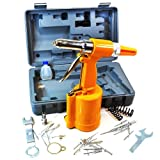"Arksen Air Hydraulic Pop Rivet Gun Riveter Riveting Tool w/Case Pneumatic 4 Nose Piece: 3/16"", 5/32"", 1/8"", 3/32"""