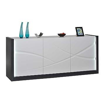 Hochglanz Sideboard in Weiß Grau LED Beleuchtung Pharao24
