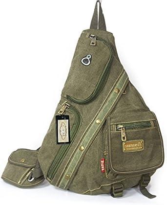 GFM Multi Pocket Canvas Monostrap Backpack (SE-1701-HR) Multi Purpose School, Sports , Travel , Gym , Cycling , Biking (SE-1701-HR)