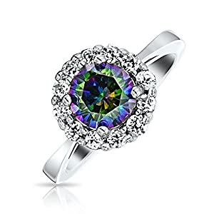 Valentine Gifts 925 Sterling Silver Crown Simulated Rainbow Topaz Engagement Ring