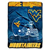 "NCAA West Virginia Mountaineers 60-Inch-by-80-Inch Micro Raschel Blanket, ""Overtime"" Design"