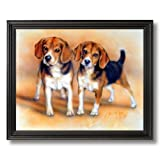 Baby Beagle Puppy Dogs Hunting Animal Picture Black Framed Art Print