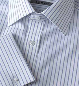 "2"" Longer Ultimate Non-iron Pure Cotton Ladder Stripe Shirt"