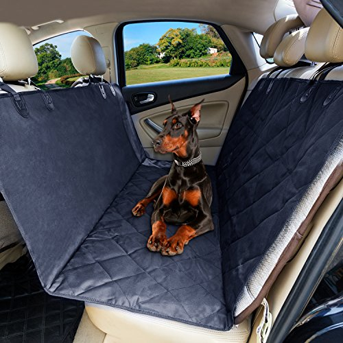 Pet Car Seat Cover, SZTROKIA Adjustable Waterproof Safety Hammock Non-Slip backing 600D Oxford Fabric with PP Cotton for Dog Cat Fits Car Minivan Truck SUV Machine Washable Black