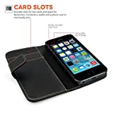 Yousave Accessories PU Leather Wallet Cover Case for iPhone 5S / 5 (Black wallet)