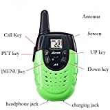 LUITON A7 Mini Durable Walkie Talkie Toy Gift for kids Long Distance Two-Way Ham Radio with Rechargable Lithium Battery Interphone for Outdoor Activities (Green)(Pair)