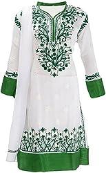 AKS Lucknow Women's Regular Fit Kurti (TK-51_38, WHITE , 38)