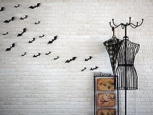 Gefii(tm)Halloween Party 12pcs/pack Black/Luminous PVC 3D Decorative Bats Butterfly Removable Wall Sticker, Halloween eve decor by gefii