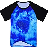 DUSTSTROKE ( ダストストローク ) スペース ギャラクシー 宇宙 柄 総柄 星柄 ( 小さい サイズ も )(4 デザイン から 選べる ) S M L メンズ 半袖 Tシャツ ラグラン おしゃれ ストリート カジュアル アメカジ きれいめ ダンス 丸首 V ネック (宇宙 ブルー M)