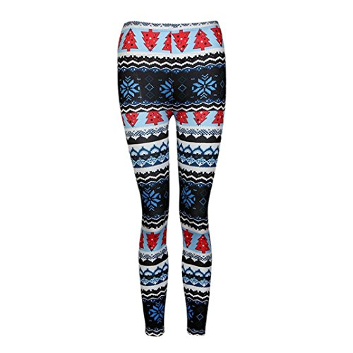 GBSELL Women Colorful Pretty Printed Stretchy Pants Leggings Sport Casual (christmas trees)