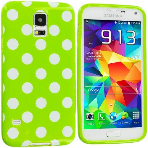 Accessory Planet(Tm) Green / White Tpu Polka Dot Rubber Design Skin Case Cover For Samsung Galaxy S5