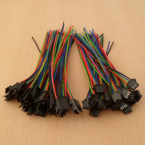 Seaboltd 40Pcs Male&Female 4 Pin Connector With Wire For 5050/3528 Rgb Led Driver/Strip