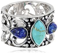 Sterling Silver Turquoise and Lapis Filigree Ring from Amazon Curated Collection