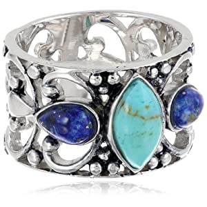 Sterling Silver Turquoise and Lapis Filigree Ring, Size 7