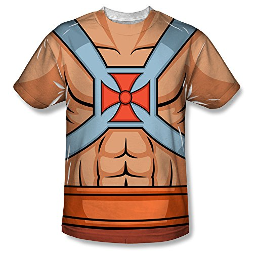 Masters of the Universe Action Cartoon He-Man Costume Adult Front Print T-Shirt