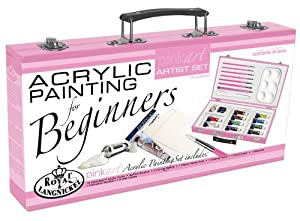 Royal and Langnickel Pink Art Acrylic Painting Artist Set for Beginners, Pink