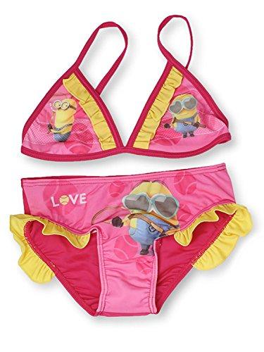 Minions - Costume Bikini 2 Pezzi Mare Piscina - LOVE - Bambina - Novità Prodotto Originale 910-443 [Giallo - 6 anni - 116 cm]