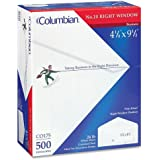 Columbian White Gummed 4 1/8 x 9 1/2 Inch Right-Hand-Window Business Envelopes 500 Count (CO175)