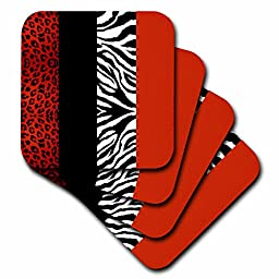 Janna Salak Designs Red/Black/White Animal Print Leopard and Zebra Coaster, Soft, Set of 8