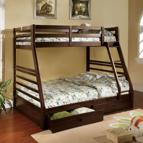 California Dark Walnut Finish Twin / Full Combo Size Bunk Bed