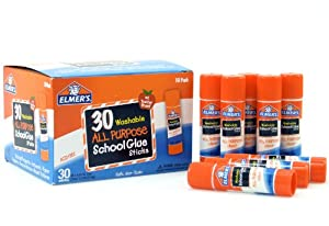 Elmer's Washable All-Purpose School Glue Sticks, 0.24 oz, Pack of 30 (E556)