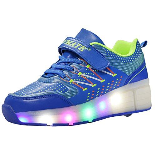 VMATEPU Blue Boy Girl LED Light Up Heelys Roller Wheel Skate Sneaker Sport Shoes Dance Boot (Led Light Up Roller Skate Wheels compare prices)