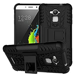 PES Premium Hybrid Military Grade Armor Kick Stand Back Cover Case for Coolpad Note 3 Lite - Rugged Black