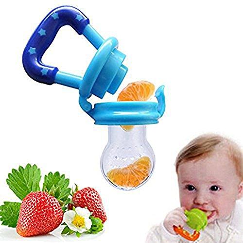 Hosaire 1X Ciuccio Retina per Frutta Succhietto con Tettarella Ortodontica Nibbler in Silicone senza BPA Massaggiagengive per Bambini(Blu), in silicone