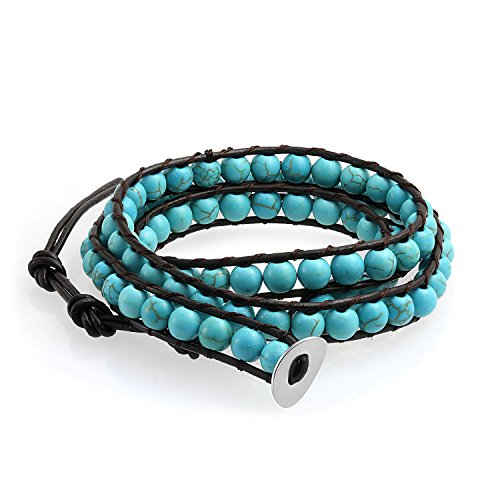 Bling Jewelry YF-BLGY34 - Bracciale unisex, 1066,8 mm, colore: turchese