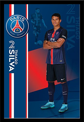 Paris Saint Germain Poster Thiago Silva + accessori Telaio in MDF nero