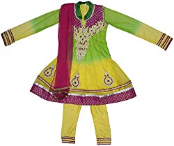 Gowri Marketing Girls' Salwar Set (AM0005_17, Green, Pink and Yellow, 11-12 Years)
