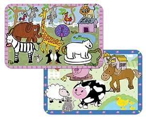 Amazon Com Kid S Farm And Zoo Animals Reversible Washable