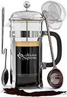 French Press Coffee & Tea Maker Complete Bundle | 8-Cups, 34 Oz | Best Coffee Press Pot with Stainless Steel & Heat Resistant Glass by Kitchen Supreme