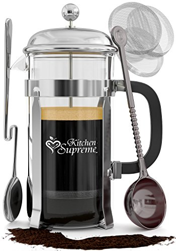 French Press Coffee & Tea Maker Complete Bundle | 8-Cups, 34 Oz | Best Coffee Press Pot with Stainless Steel & Double German Glass (34 Oz French Press compare prices)