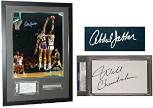 Wilt Chamberlain & Kareem Abdul Jabbar Signed & Framed 22x31 Bucks vs Lakers... by PSA/DNA