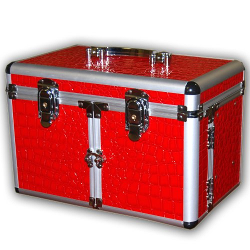 Red alligator faux grain leather cosmetic/jewelry train case